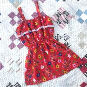 Vintage 1970's Floral Mini Dress- Red Psychedelic